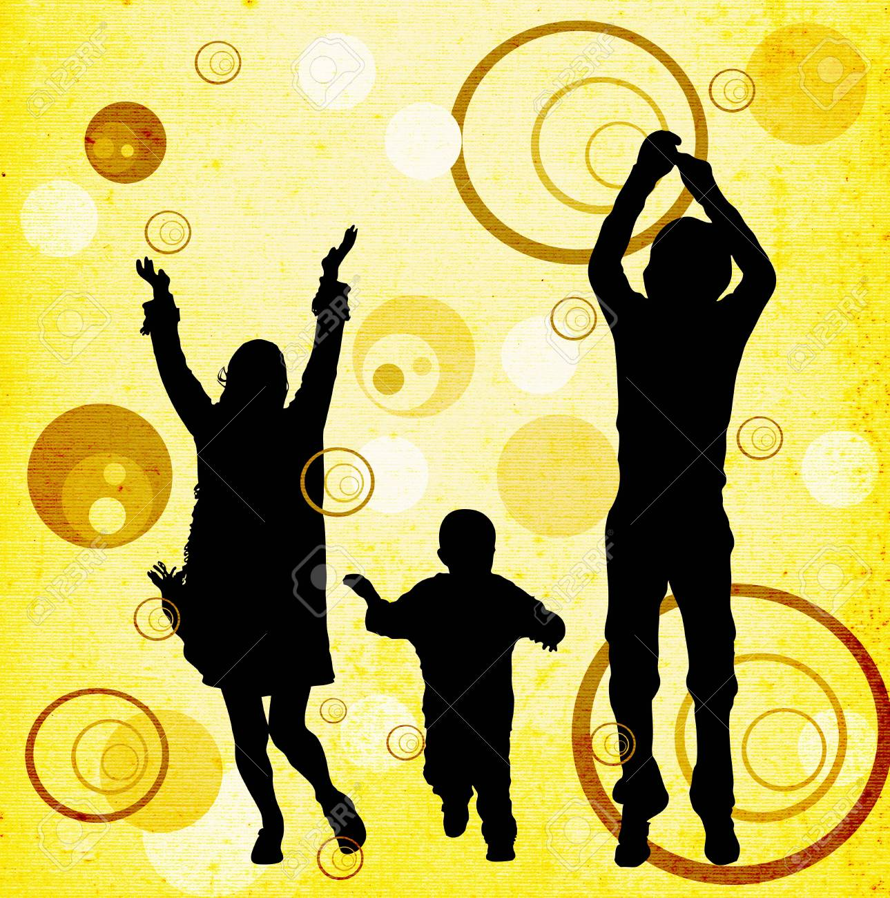 illustration of an urban scene with a familly silhouettes Stock Photo - 1282588