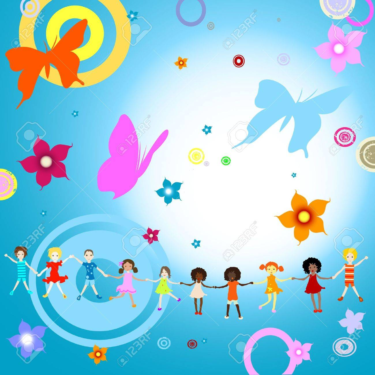 group of kids on abstract background with flowers and butterflies