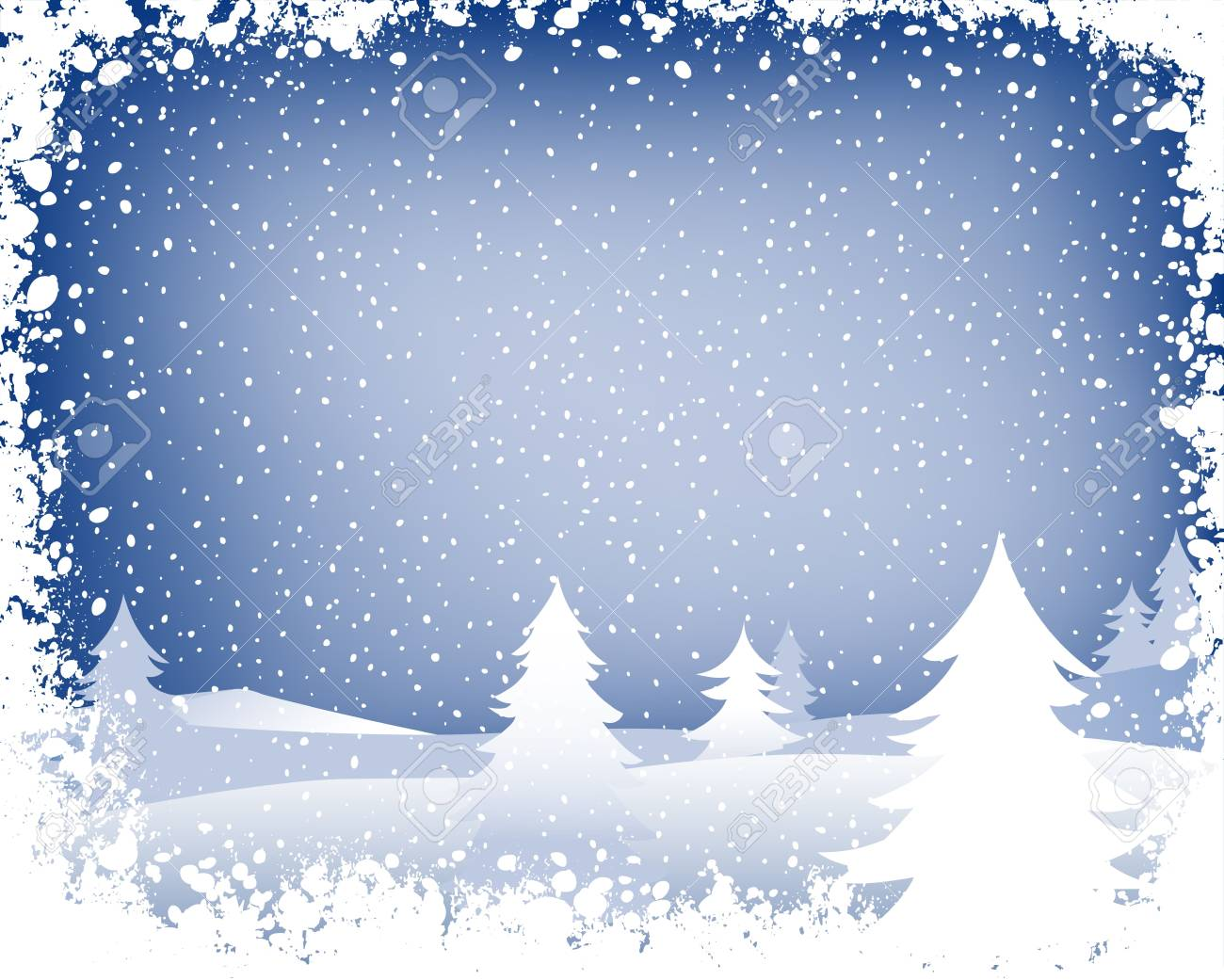 fir forest in wintertime with falling snow Stock Photo - 1964335