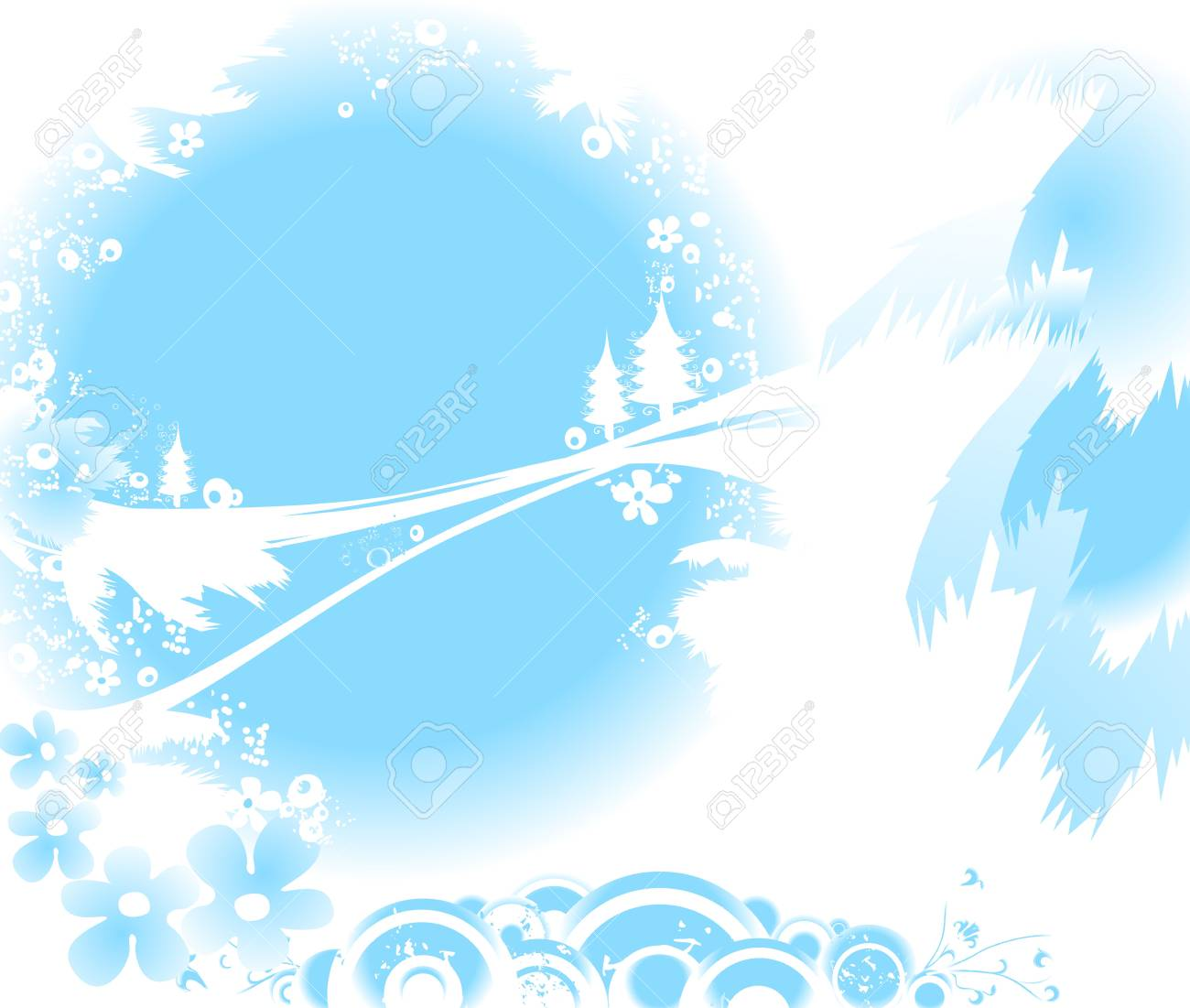 winter landscape with fir tree forest; Christmas illustration Stock Illustration - 2079987