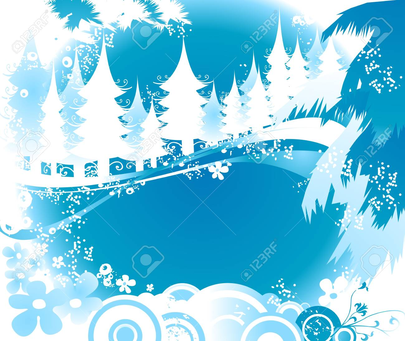 winter landscape with fir tree forest; Christmas illustration Stock Photo - 2135322