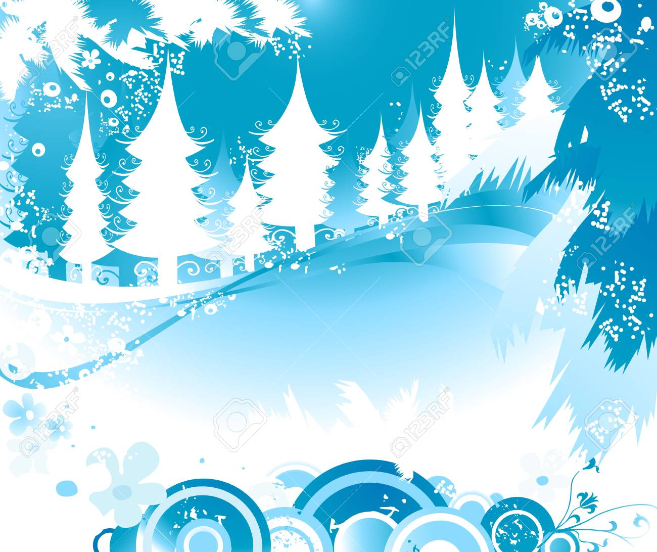 winter landscape with fir tree forest; Christmas illustration Stock Photo - 2465016