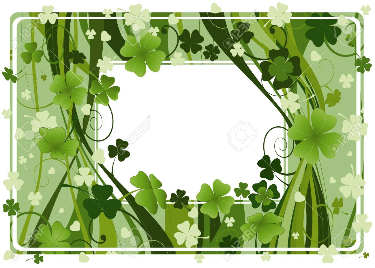 design for St. Patrick's Day with four and three leaf clovers Stock Photo - 2574792