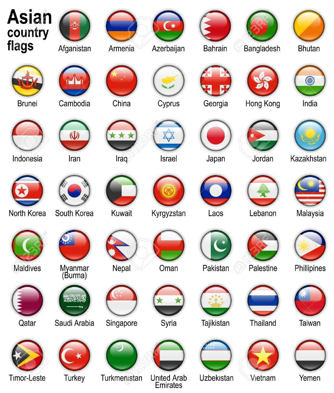 shiny web buttons with asian country flags stock photo picture and