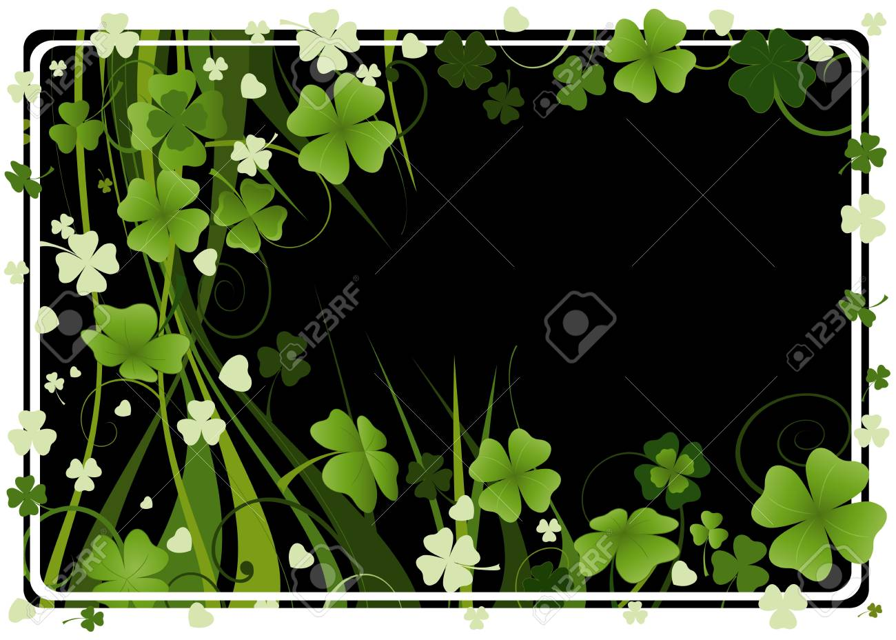 design for St. Patrick's Day with four and three leaf clovers Stock Photo - 2679718