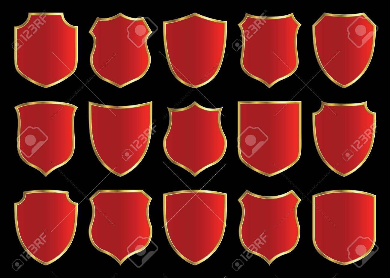 red shield with gloden border; design set with various shapes Stock Photo - 2919643