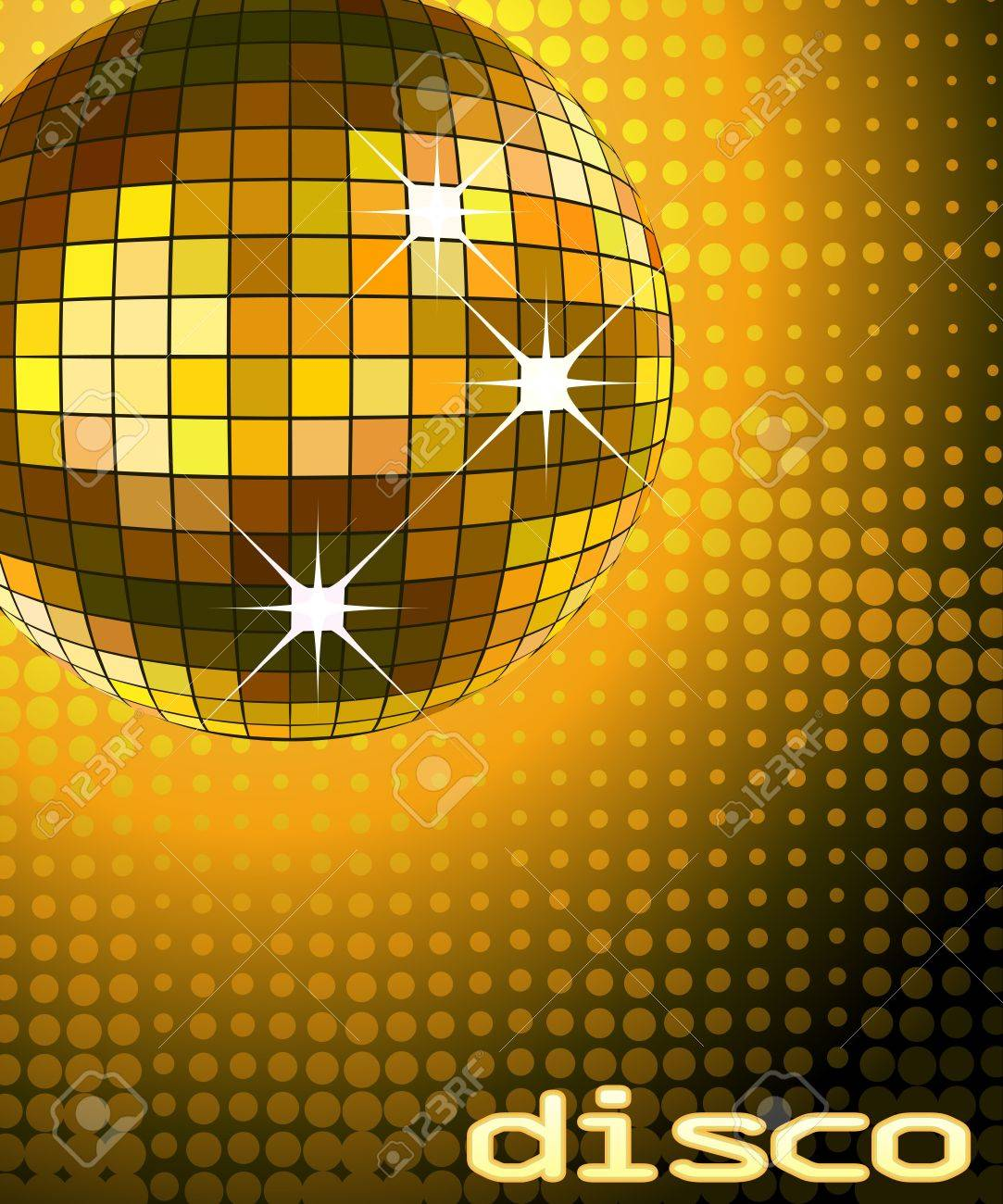 retro party background with disco ball, illustration Stock Illustration - 3334929