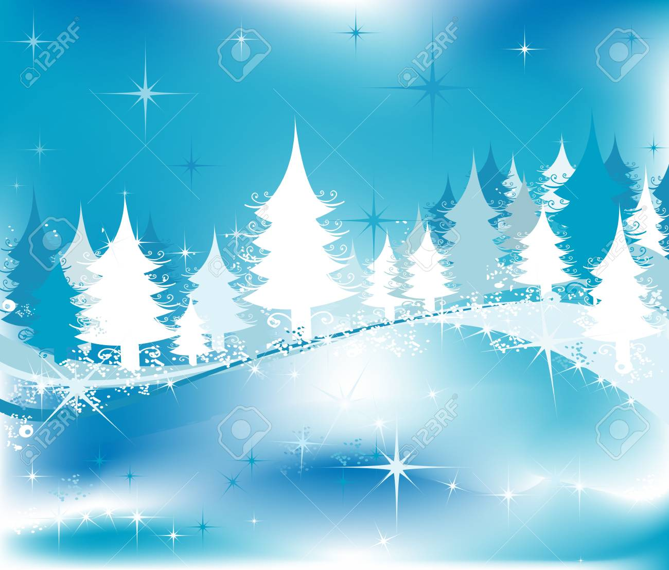 winter landscape with fir tree forest Stock Photo - 3364499