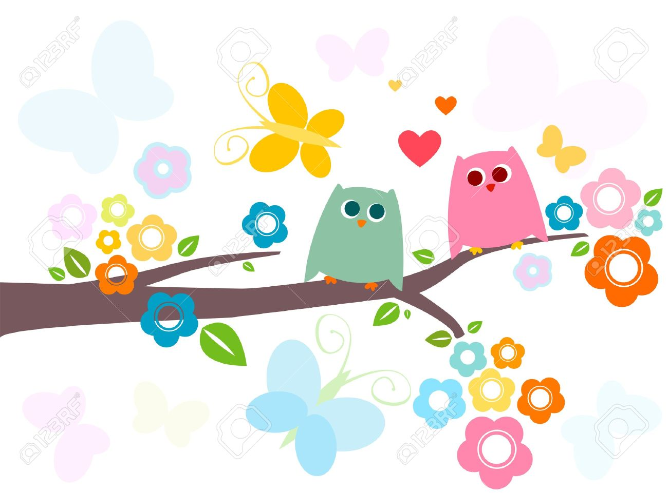 cute owls in love with flowery tree Stock Photo - 8913272