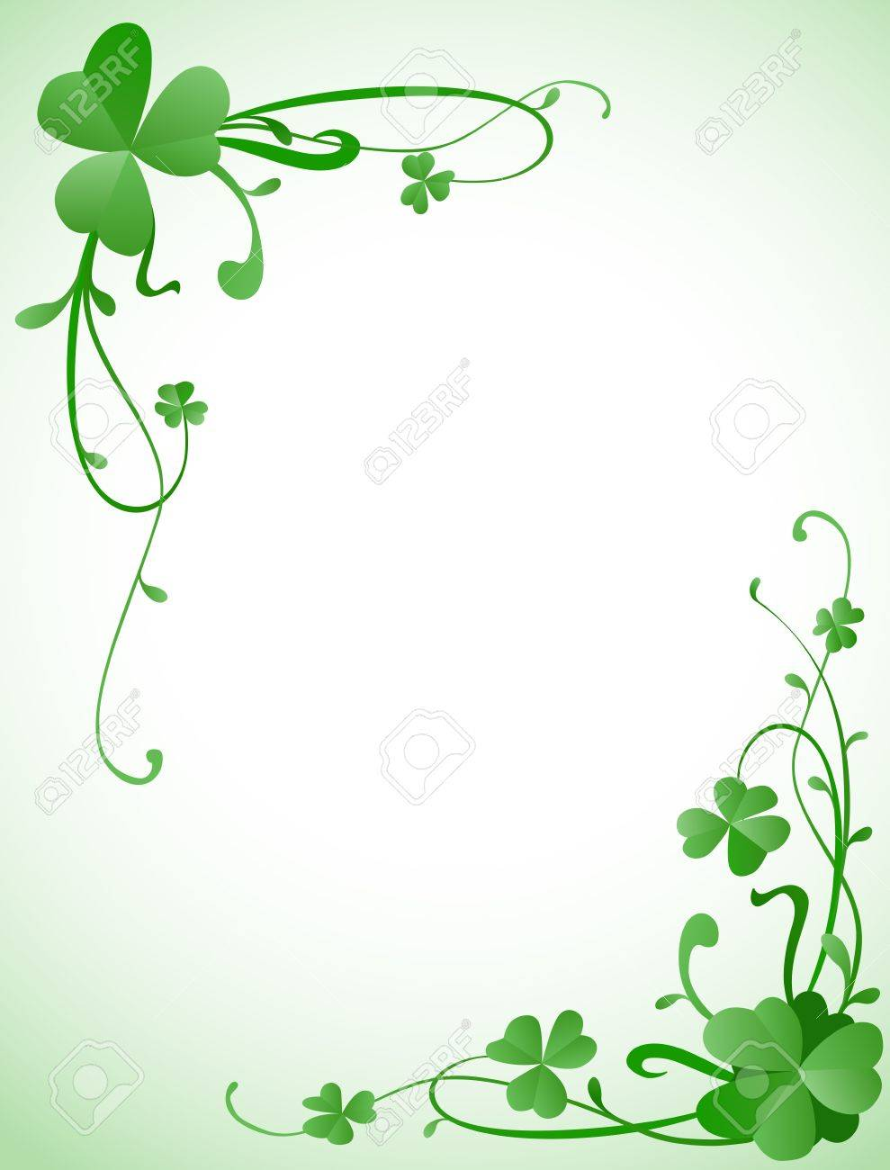 Background Design For St Patricks Day With Three Leaves Clovers Stock Photo