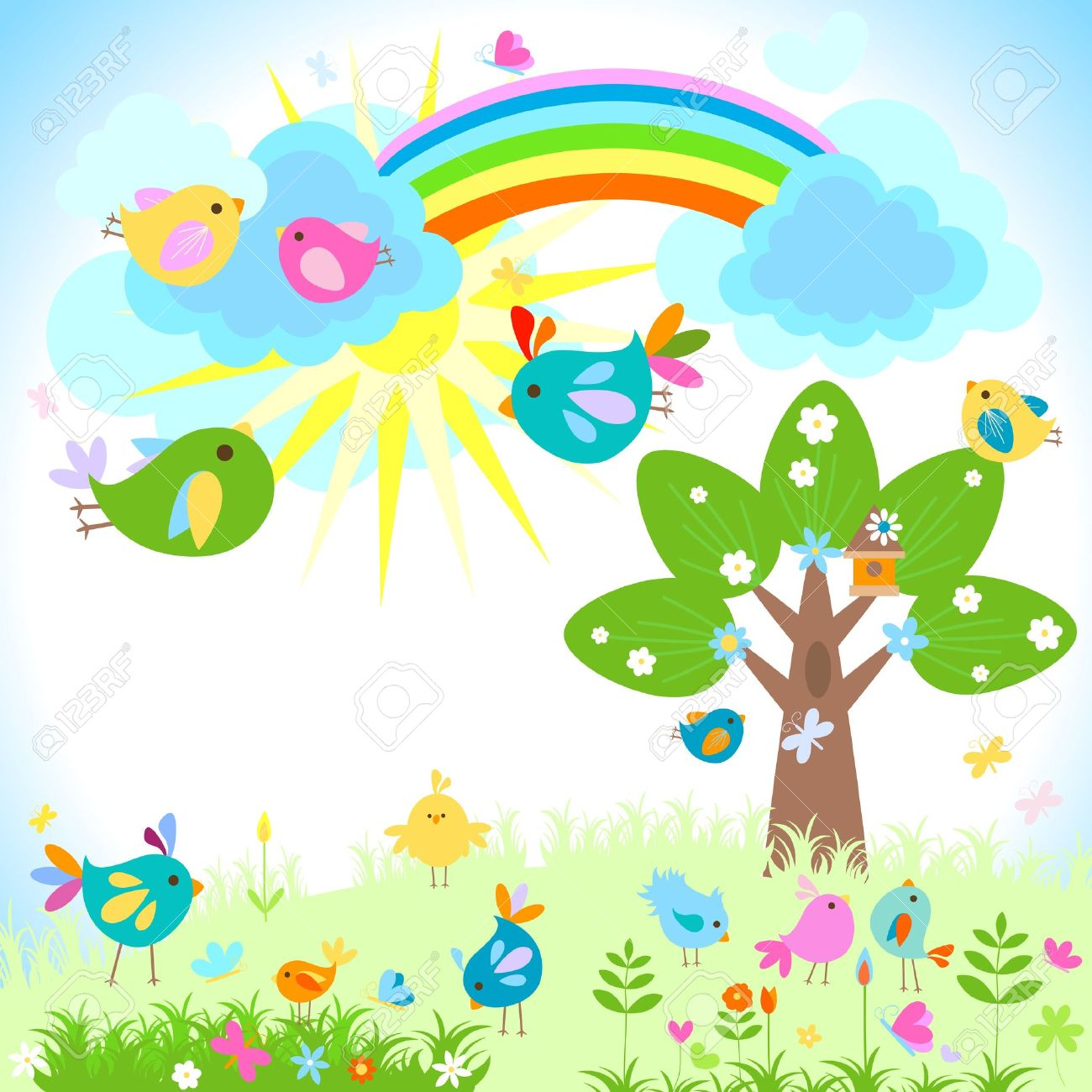 Bright Spring With Rainbow Royalty Free Cliparts Vectors And Stock Illustration Image 12496464