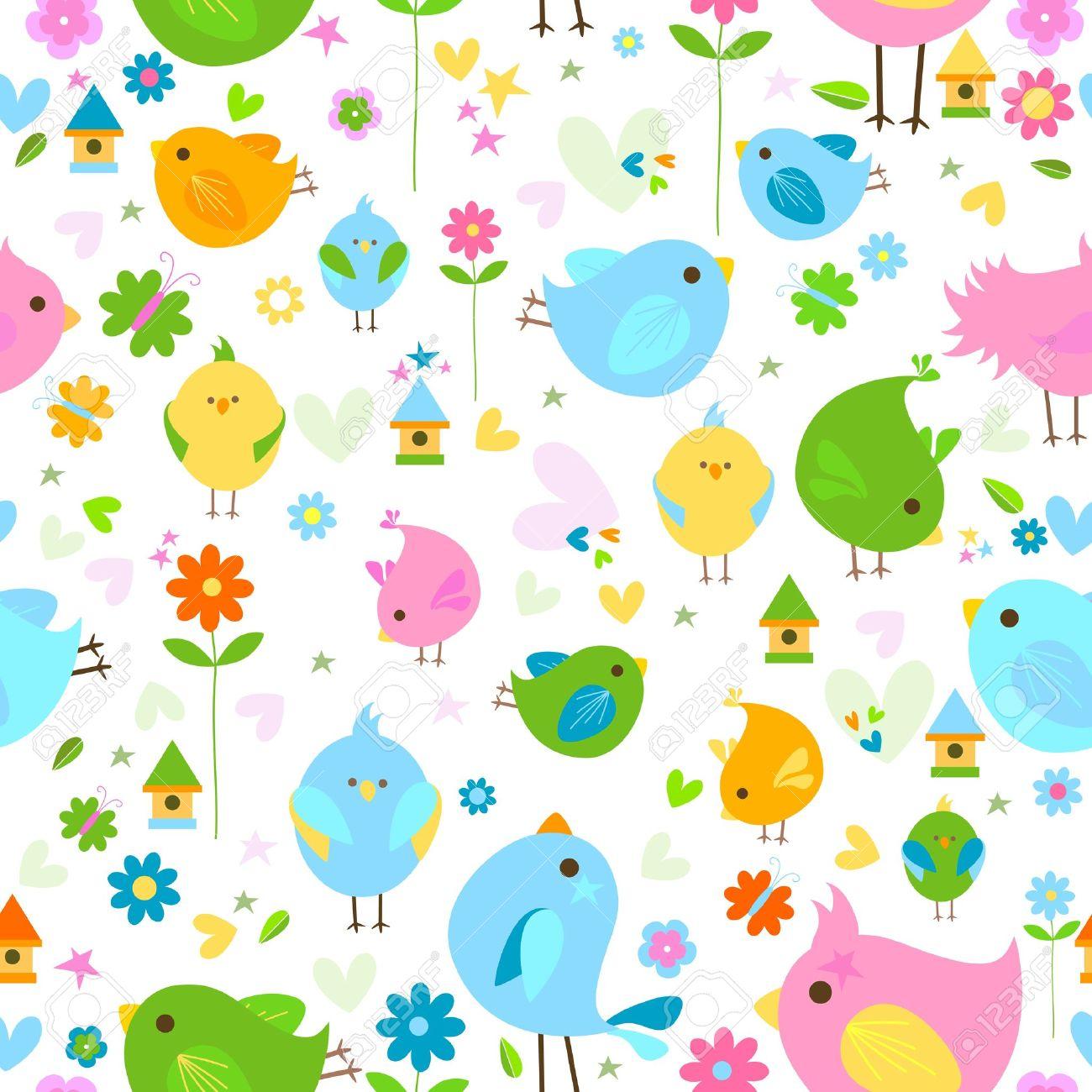 Spring Cute Birds Seamless Background Stock Vector