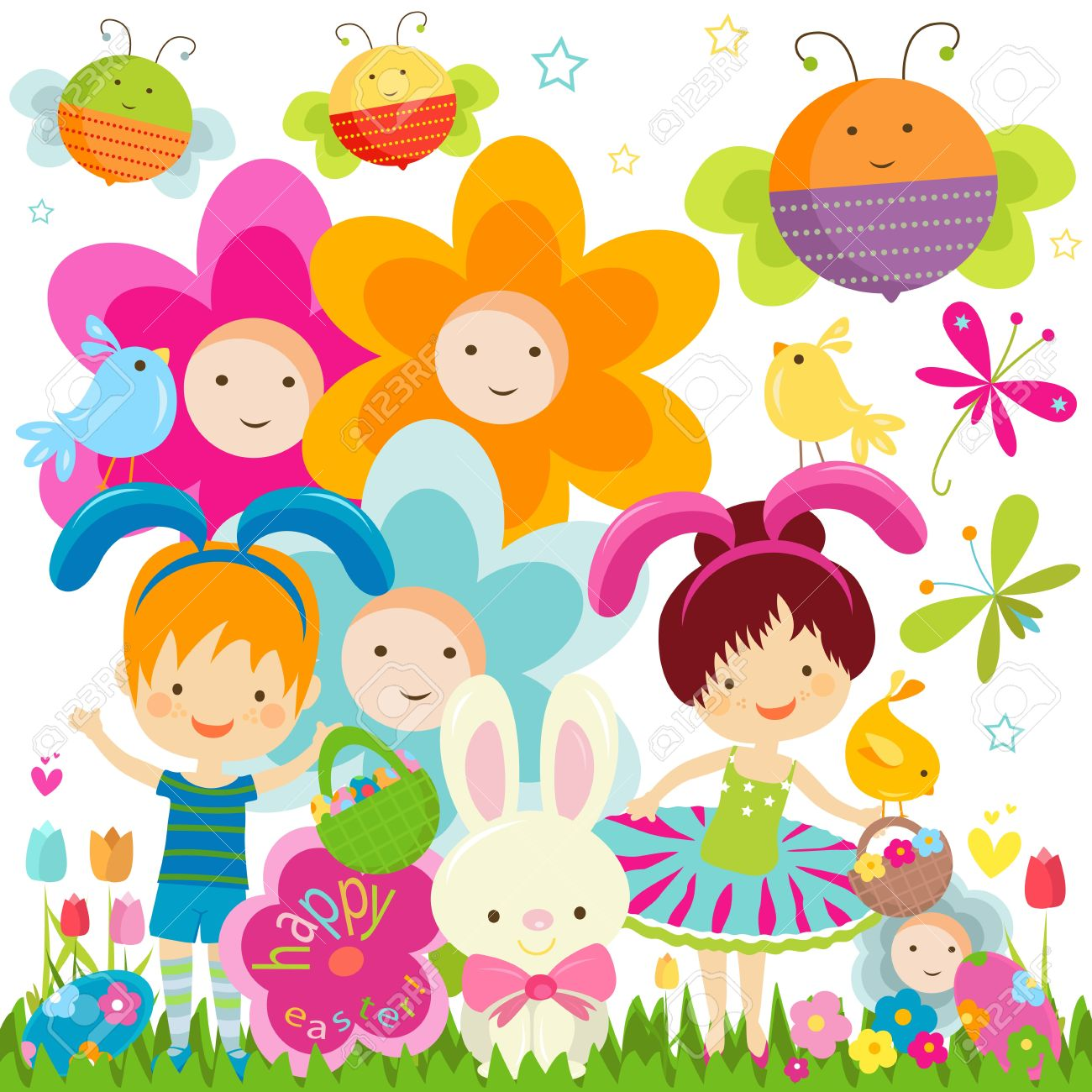 easter background with happy kids, bees and flowers Stock Vector - 17369768