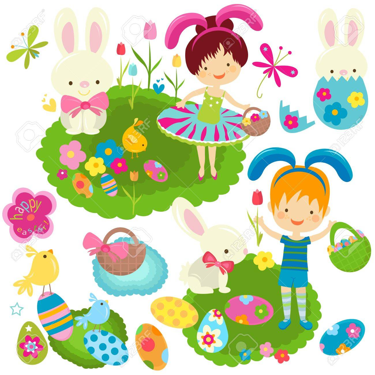happy girl and boy celebrating easter Stock Vector - 17438504