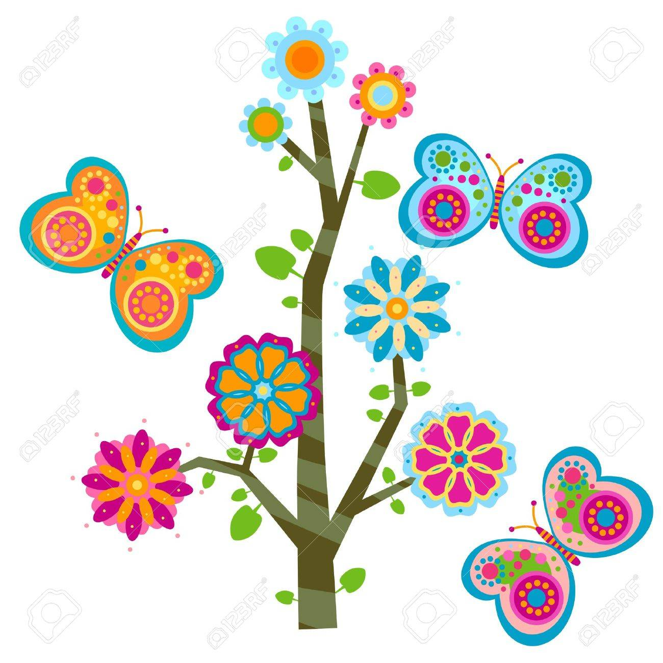 sweet floral tree and butterflies Stock Vector - 17476384