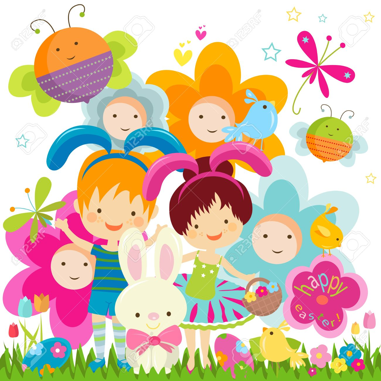 easter background with happy bees and flowers royalty free