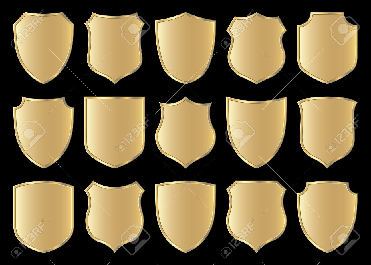 Golden Shield Design Set With Various Shapes Stock Vector