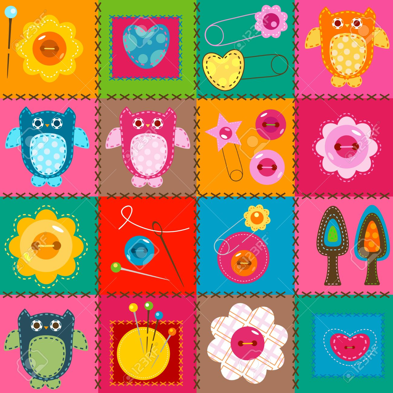 stitch owls on a colorful background for babies stock vector 18004325