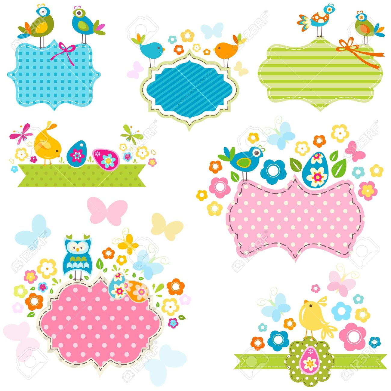 Easter Frames Set With Birds And Flowers Royalty Free Cliparts ...