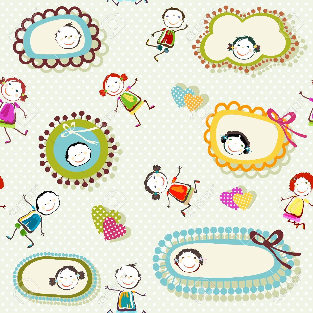 colorful background with happy children playing Stock Vector - 18784836