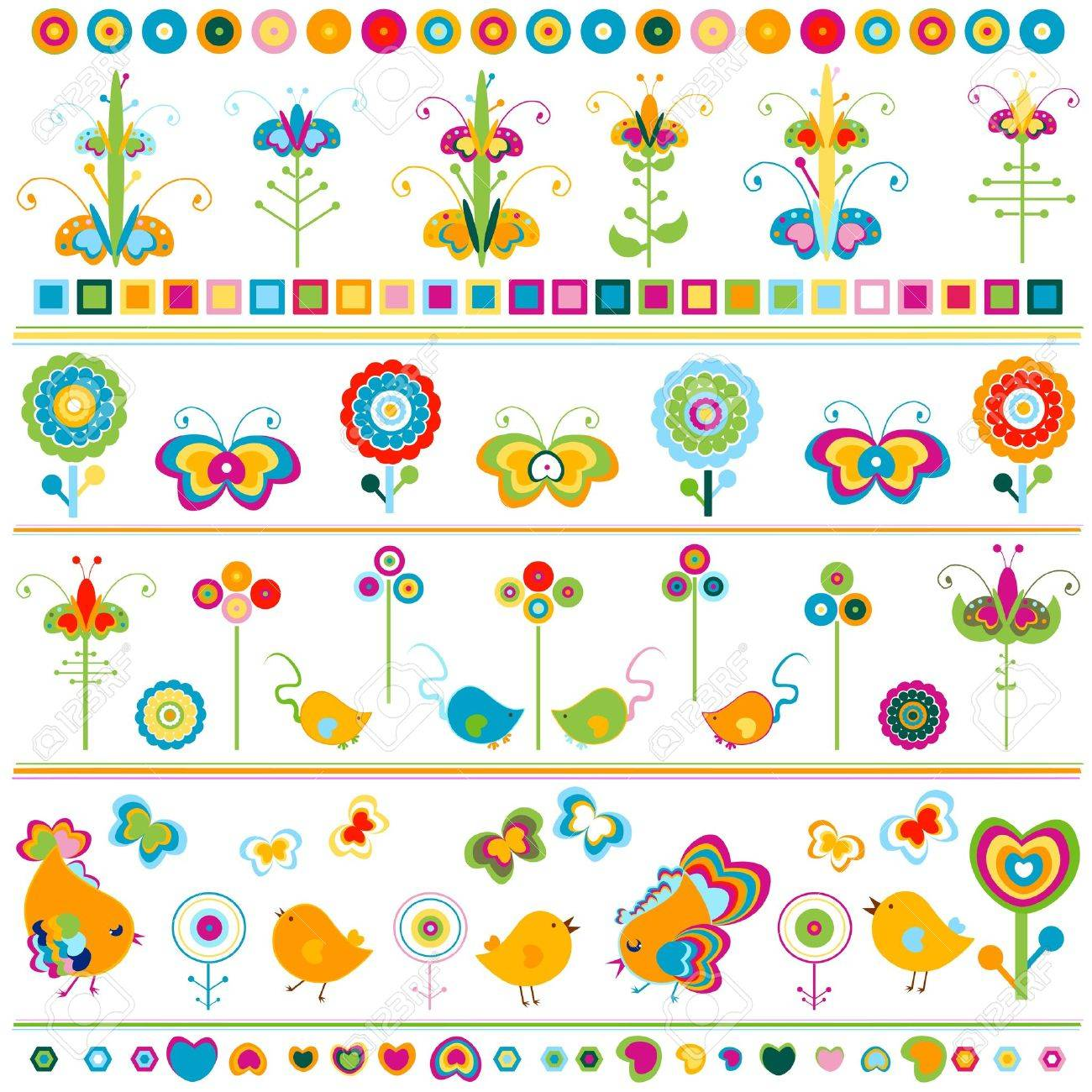 birds, butterflies, flowers etc borders, cute  colorful elements Stock Vector - 20197708