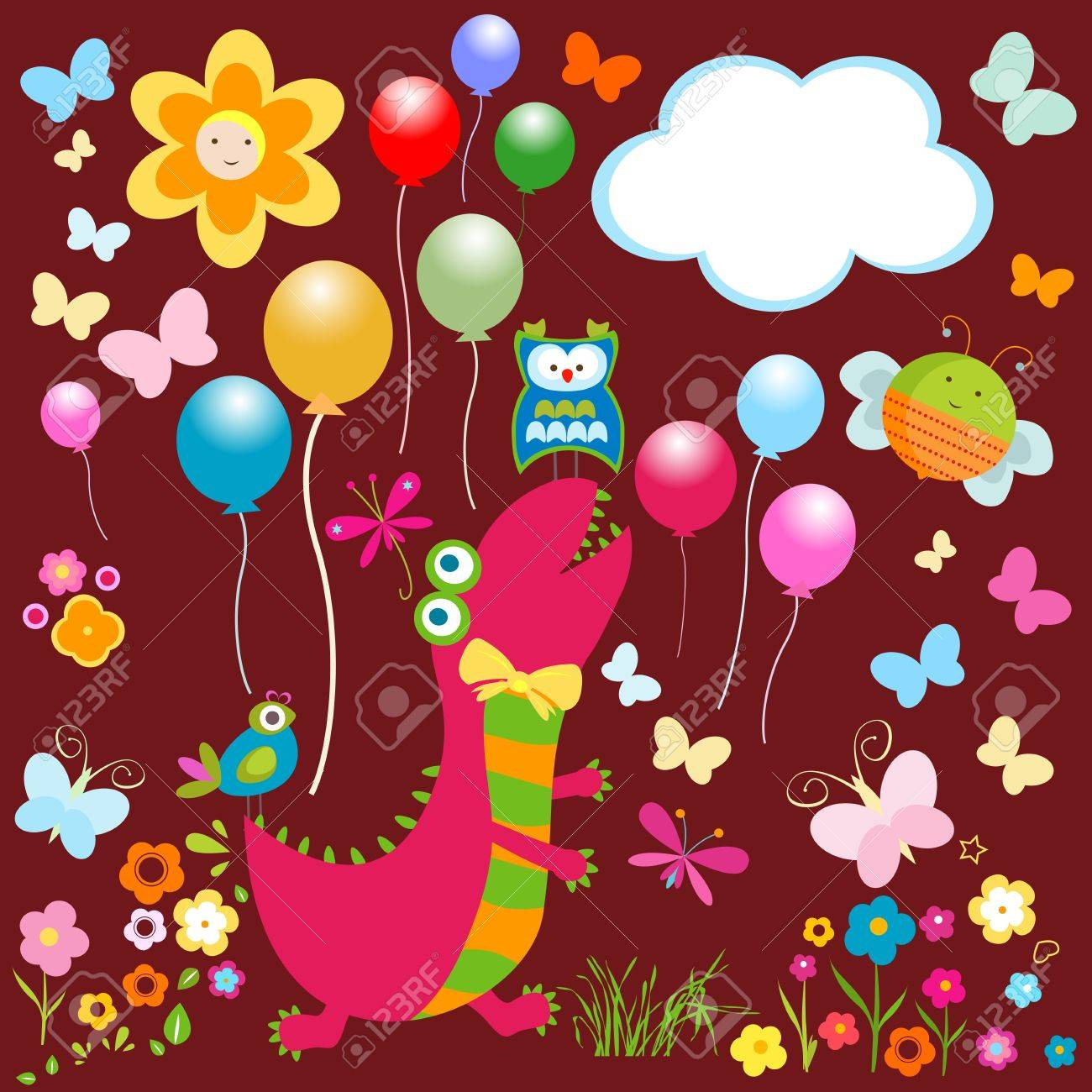 dinos card, happy cute colorful dinosaurs Stock Vector - 20220452