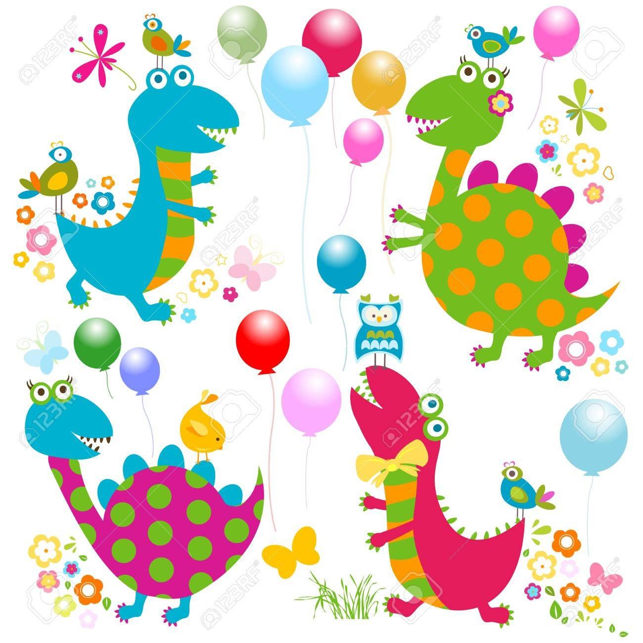 dinos card, happy cute colorful dinosaurs Stock Vector - 20300443