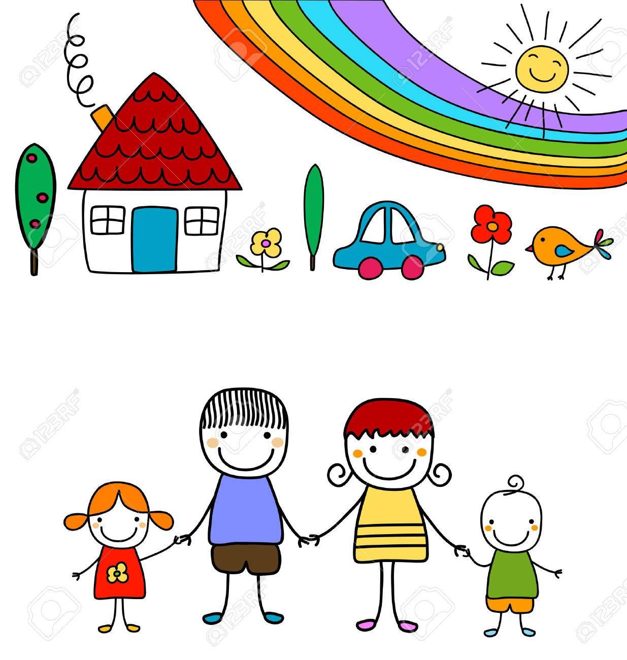 happy family and rainbow - 39262809