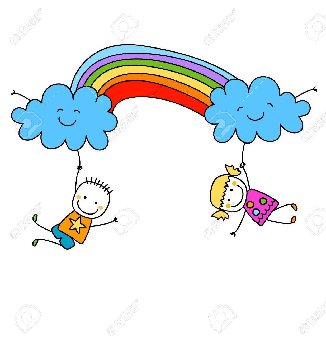 happy kids with rainbow - 39308390
