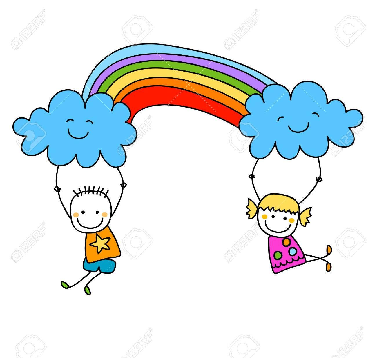 happy kids with rainbow - 39348618