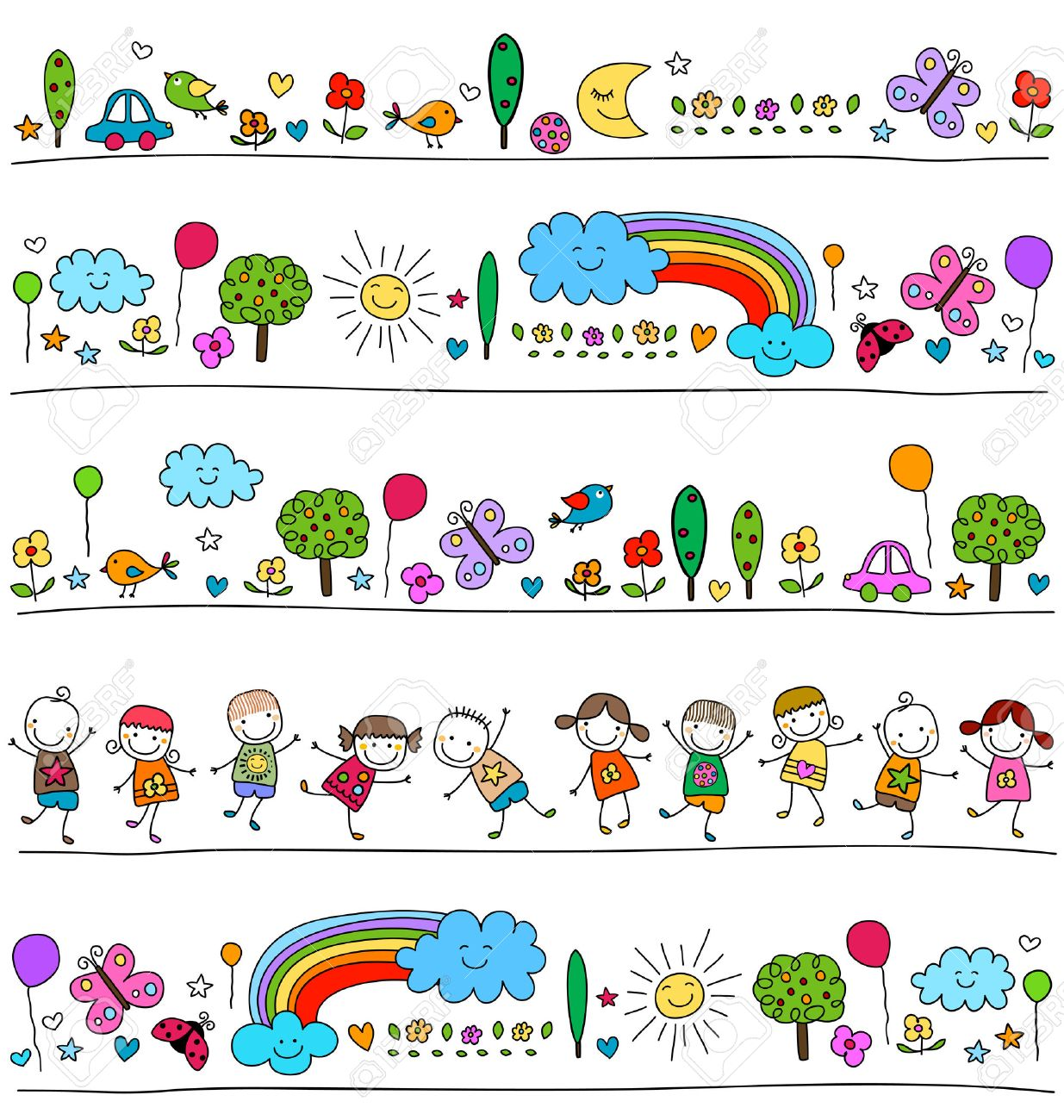 colorful pattern for children with cute nature elements, child like drawing style - 39348627