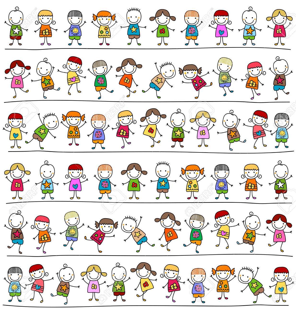 cute kids pattern, childlike style drawing - 39585645