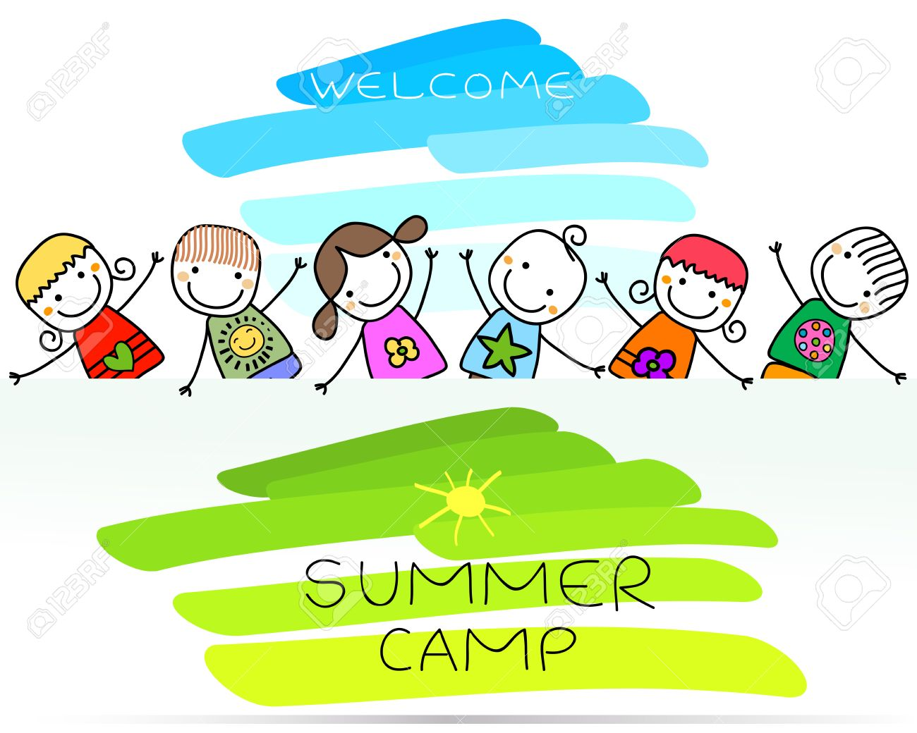 summer camp poster with happy kids - 41310504