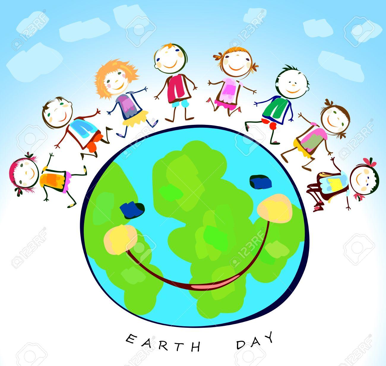 Niños Felices Jugando Alrededor Del Planeta Tierra Ilustraciones ...