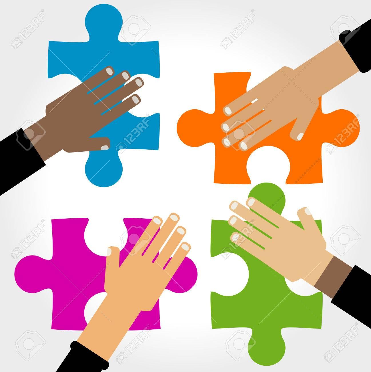 Diversità mani di puzzle illustrazione Archivio Fotografico - 55949082 ced254515852