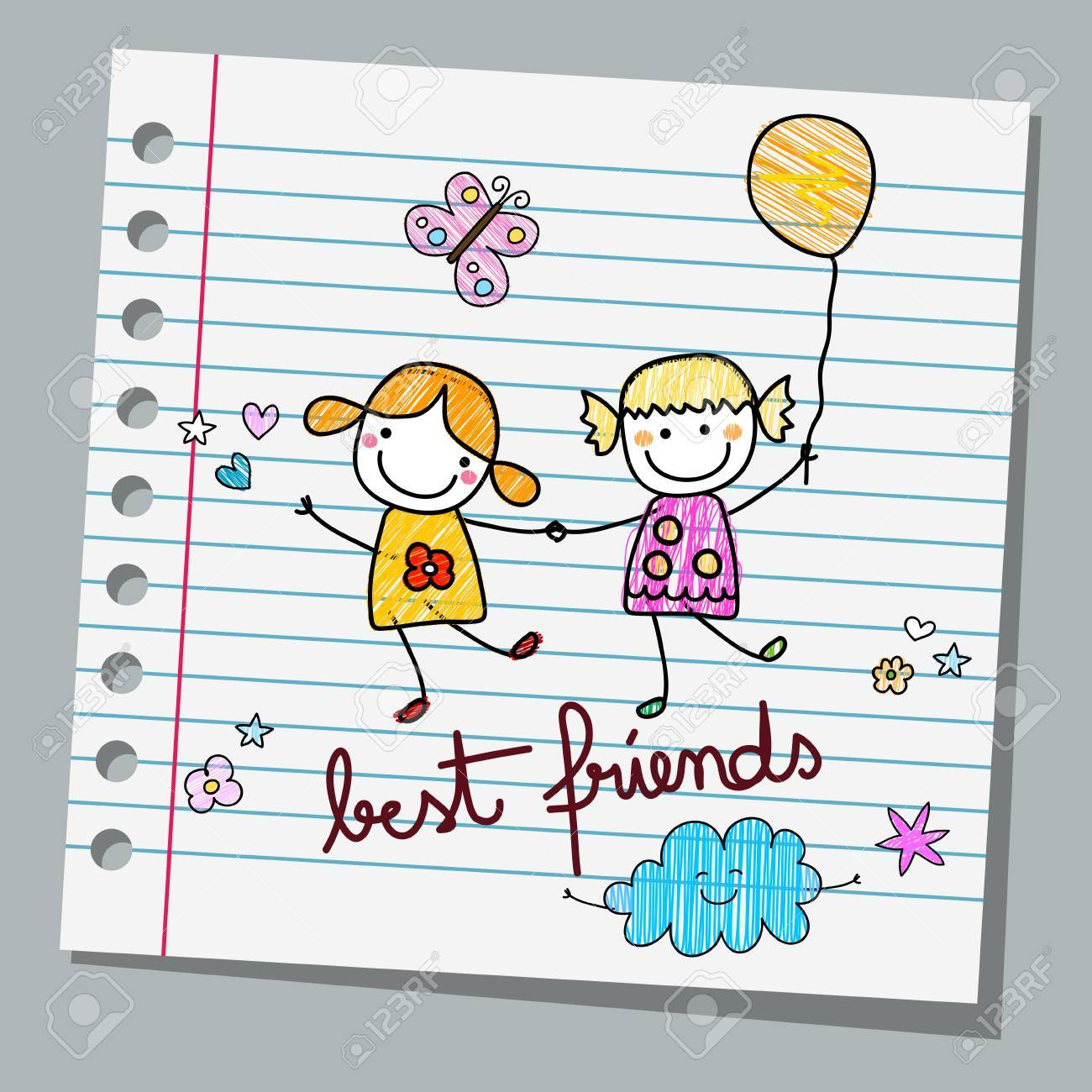 notebook paper best friends - 55949136