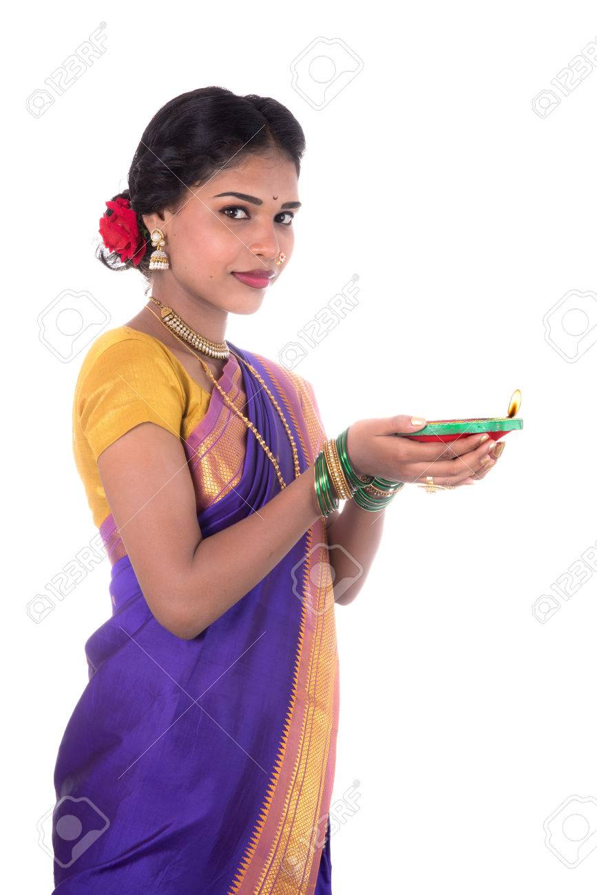 Portrait Of A Woman Holding Diya, Diwali Or Deepavali Photo With ... for Girl Holding Lamp  104xkb