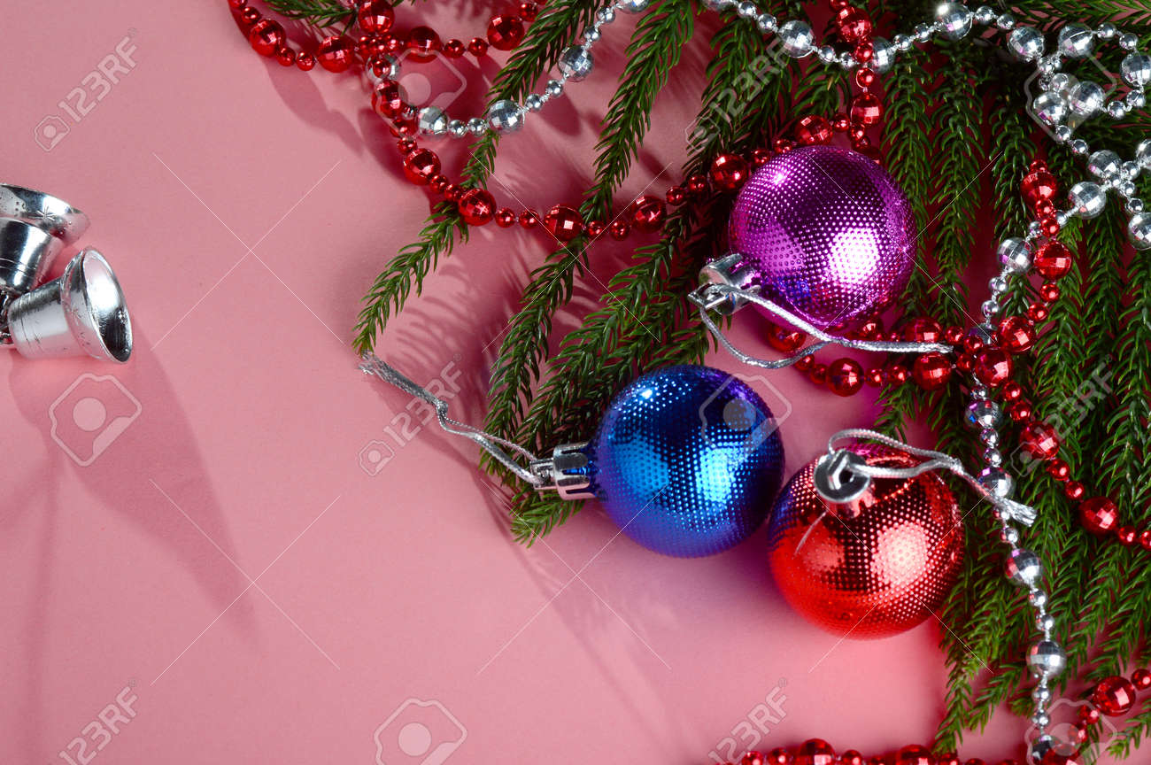 Christmas Decoration: Christmas ball and ornaments with the branch of Christmas tree - 136032214