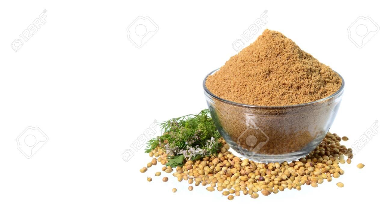 Coriander seeds, Fresh Coriander and Powdered coriander isolated on white background. - 135456301
