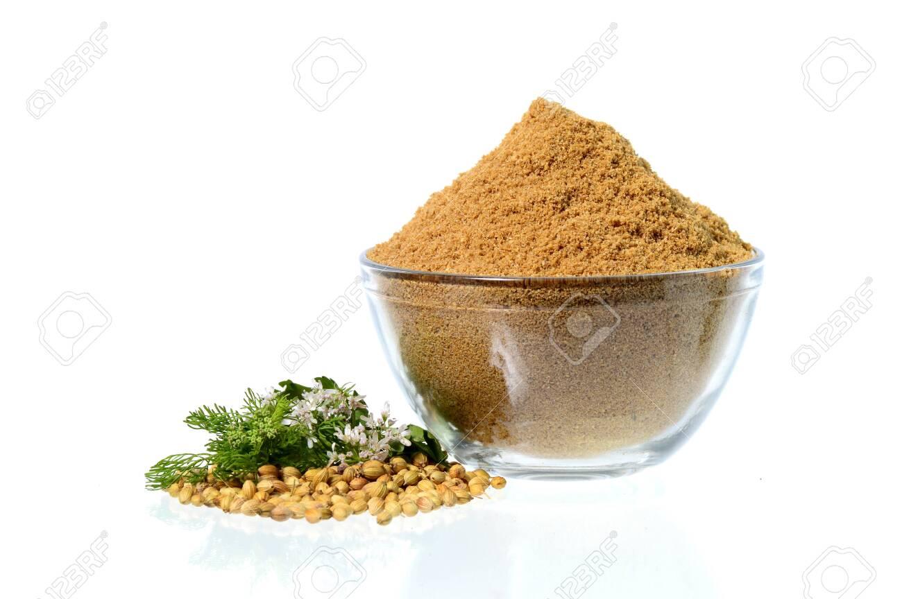 Coriander seeds, Fresh Coriander and Powdered coriander isolated on white background. - 135456400