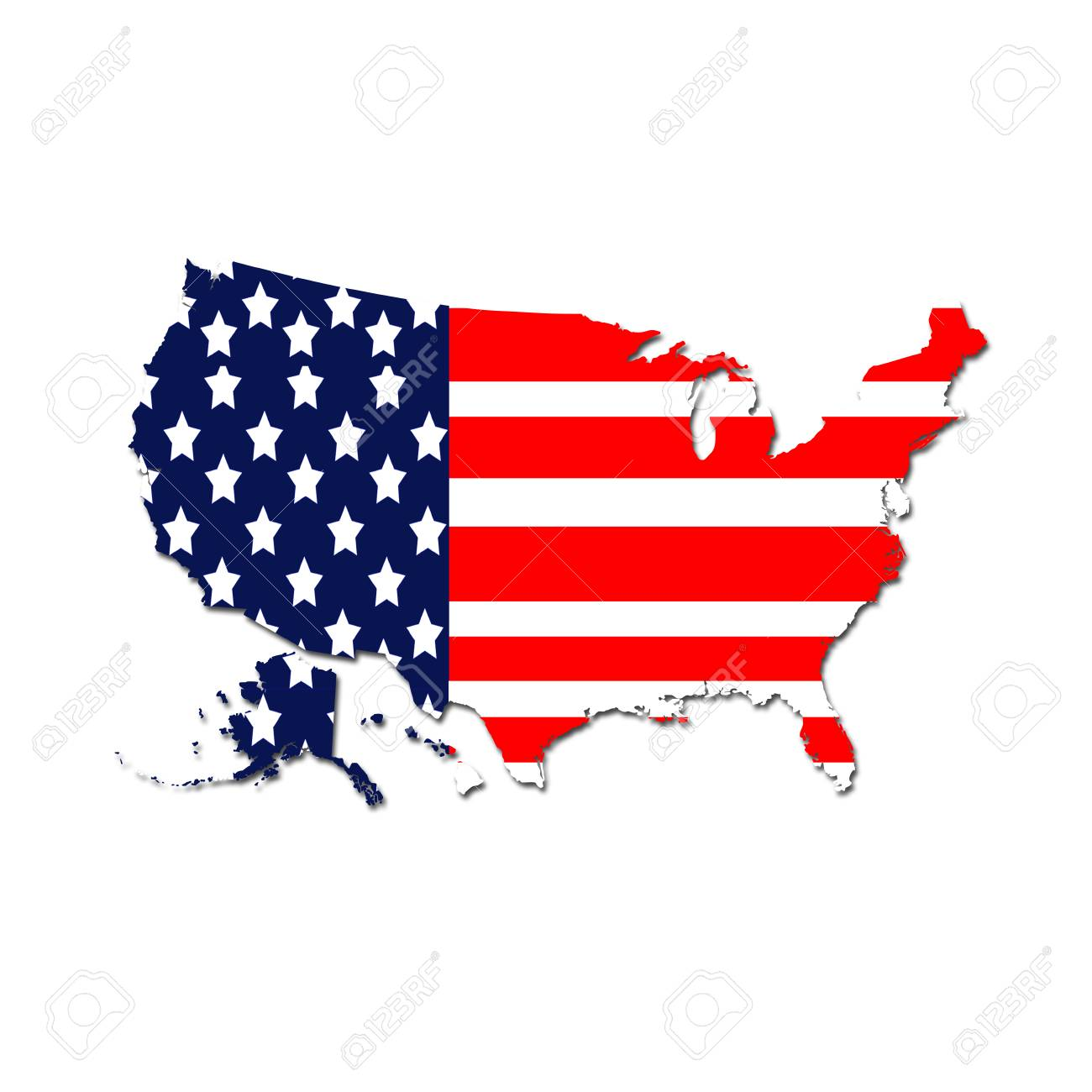 United States Map With The Flag Colors Background. Stock Photo ...