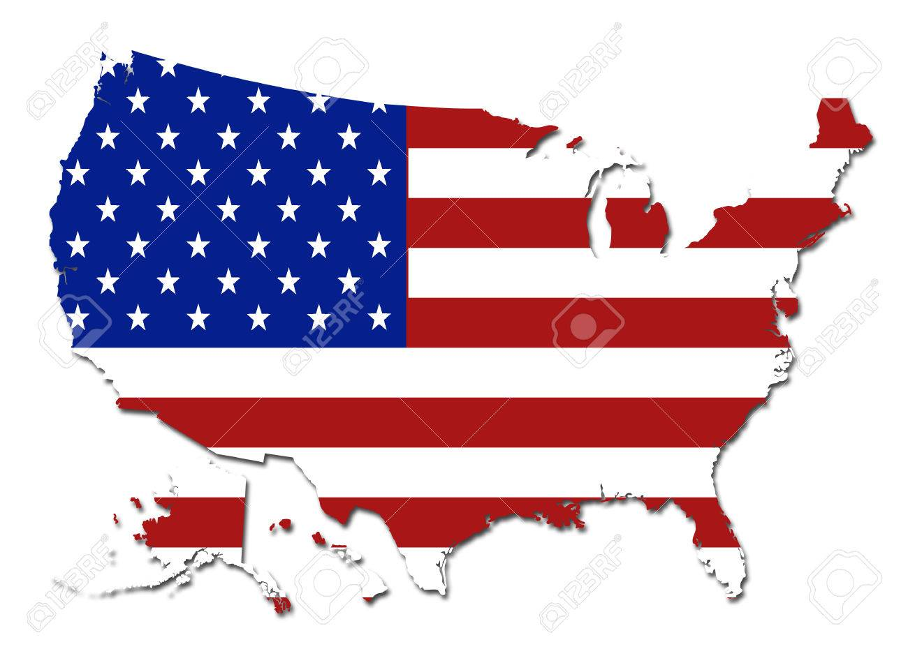US Flag USA Map Symbol Logo On A Solid Background Stock Photo