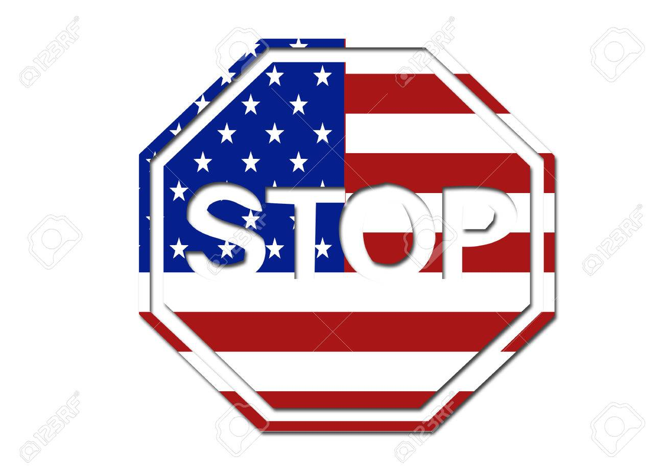 us flag stop sign symbol logo on a solid background stock photo rh 123rf com stop sign look left look right look left stop sign logo design