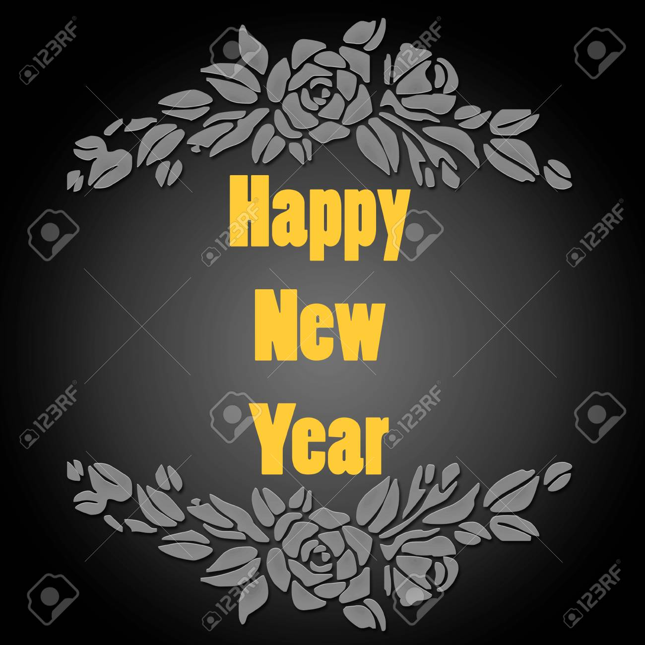 new year greetings with text happy new year on a grey background stock photo 69710467