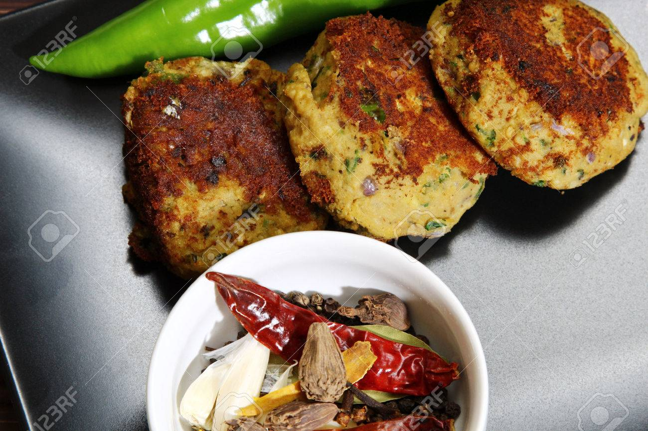 Overhead view of a platter of Shami kebab, made of minced chicken,