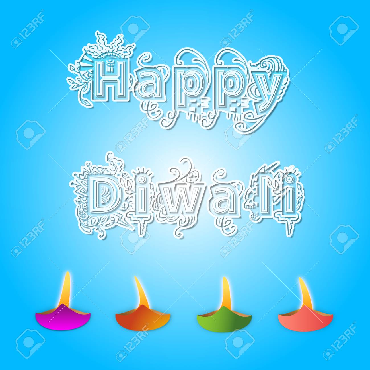 Happy Diwali Greetings With Diwali Lights Stock Photo Picture And