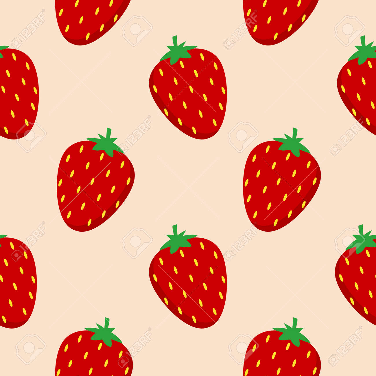 strawberry flat design seamless pattern. Vector illustration of art. Vintage background. Kitchen and restaurant design for fabrics, paper - 168203981