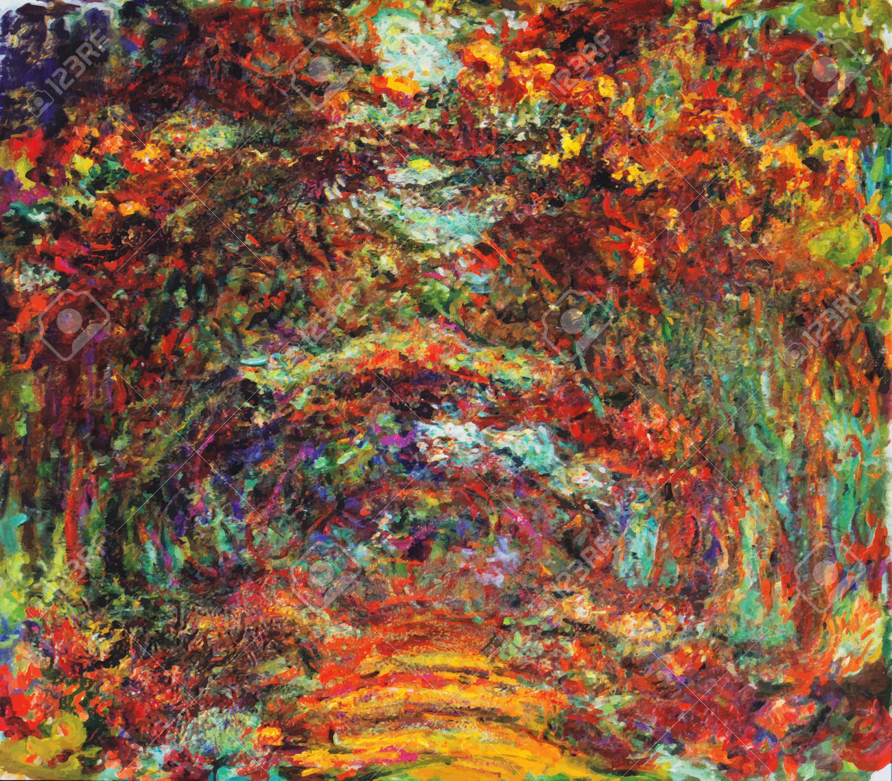 My digital altered The Rose Walk by Claude Monet 1922, Museum Marmottan Monet, Paris - 151901753