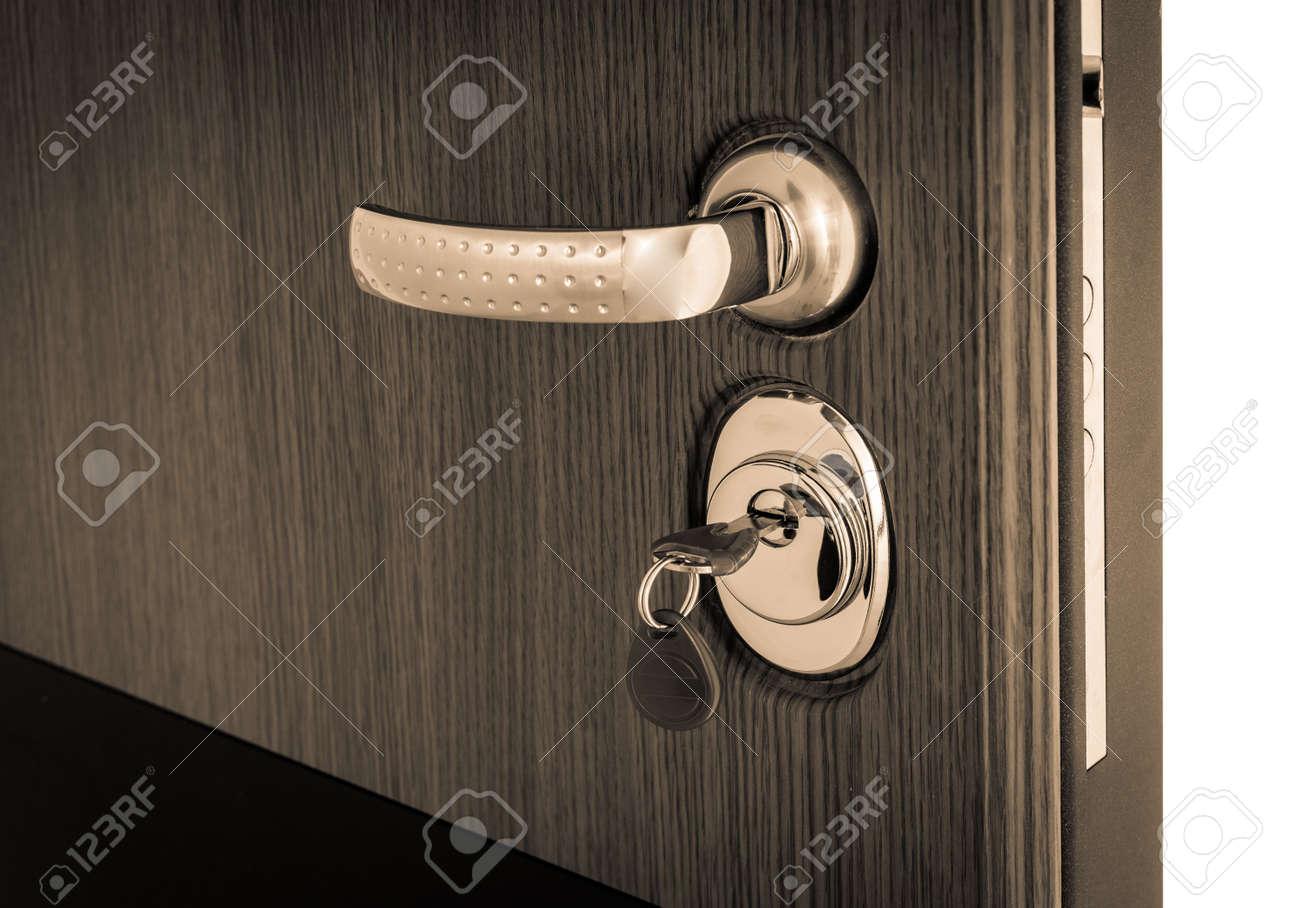 open door with reinforced key mechanism - 155941274