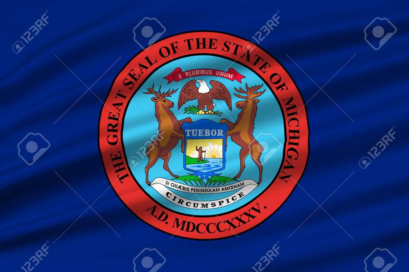 Bandera De Michigan Es Un Estado En Los Estados Unidos. Ilustración ...